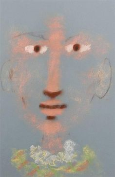 'Harlequin' by Jean Cocteau (pastel on blue paper)