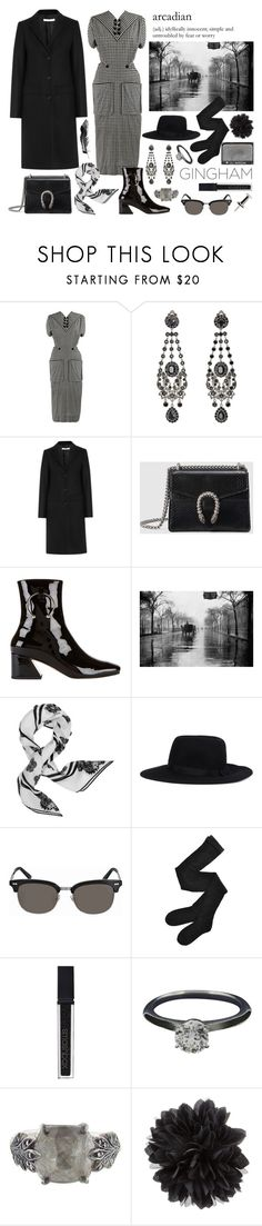 """strange rainy day"" by nothingisnormal ❤ liked on Polyvore featuring Jacques Fath, Givenchy, Gucci, Dorateymur, Kenzo, Y's by Yohji Yamamoto, NARS Cosmetics, Fogal, Smashbox and Tiffany & Co."