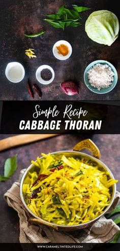 Cabbage Thoran is a delicious Kerala-style recipe for cabbage fry. Served at a traditional Onam Sadya (vegetarian feast), it is a home-style recipe for stir-fried cabbage spiced with whole spices. Best served with matta rice (parboiled Kerala red rice). Healthy Indian Recipes, North Indian Recipes, Ethnic Recipes, Dried Vegetables, Different Vegetables, Vegetarian Cabbage, Fried Cabbage, Fish Curry