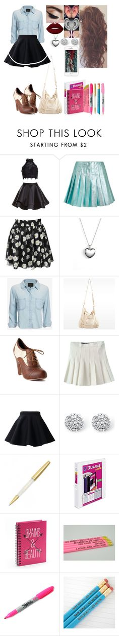 """Untitled #1415"" by skh-siera18 ❤ liked on Polyvore featuring Alyce Paris, Miu Miu, Pandora, Rails, Linea Pelle, Oxford, Chicwish, Palm Beach Jewelry, Avery and Simple Pleasures"