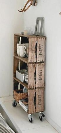 Stacked crates become functional shelving - brilliant. Love the casters.