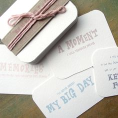 Wedding cards to give to the bride for her to write on the day to keep as memories