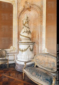Ceramic stove in a room in Eszterhazy castle, Fertod, Hungary.