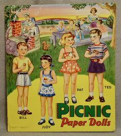 VINTAGE UNCUT 1948 3 WOOD DOLLS PAPER DOLLS~#1 REPRODUCTION~EXTREMELY RARE!