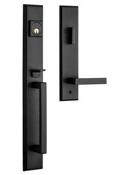 Black Exterior Doors, Exterior Door Hardware, Front Door Hardware, Baldwin Door Hardware, Black Door Hardware, Contemporary Front Doors, Modern Front Door, Front Door Design, Black Front Doors