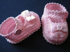 Crochet Booties Mary Janes Newborn Baby Girl Pink Bows
