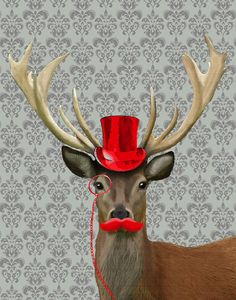 Deer Print 8X10 Red Hat and Moustache Art Print by LoopyLolly, $26.00