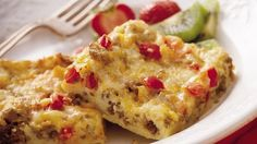 Spicy Sausage Breakfast  Enjoy a sausage and cheese egg bake that's bountiful enough to serve a crowd!