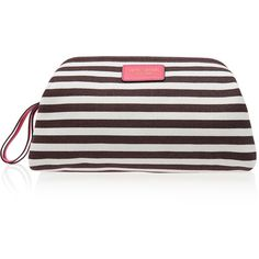 Henri Bendel Signature Stripe Canvas Dopp Kit (¥5,440) ❤ liked on Polyvore featuring beauty products, beauty accessories, bags & cases, bags, pink coral and henri bendel