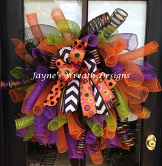 "35"" Very colorful Spiral Halloween Deco Mesh Wreath with colorful bow"