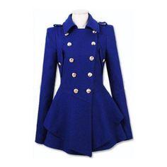 Royal Blue Military Double Skirt Hem Woolen Coat ($81) ❤ liked on Polyvore