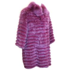 "Olivia Preckel Purple ""Carolina"" Long Fox Coat NWT featuring polyvore, women's fashion, clothing, outerwear, coats, long coat, ombre coat, fox fur coat, long purple coat and fox coat"
