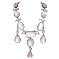 Rose Quartz and Moonstone Silver over Yellow Gold Necklace, ca. 1895