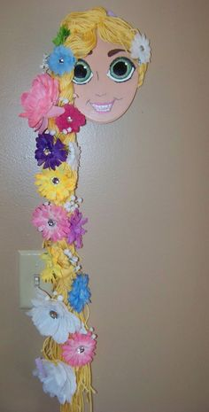 """Rapunzel Hair Bow, Headband and Pony-O Holder- Hand Painted and Custom-Made- Inspired By Brothers Grimm &""""Tangled"""""""