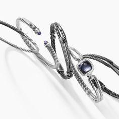 Bracelets in sterling silver and darkened sterling silver.