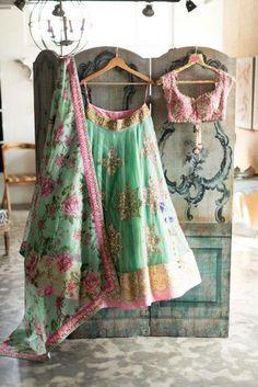 Flowery Indian Lehenga Choli   Colorful Shades   Modern Indian Style