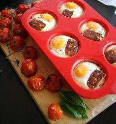 Paleo breakfast of baked eggs with tomato sofrito & cheeky haloumi cheese. #paleo