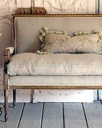 Vintage French Louis XVI Love Seat....I have one very similar, only with more intricate woodwork.  I need to recover, but it still has the original horsehair stuffing and nailheads, so hate to destroy that.