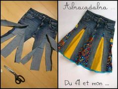 You'll love to make this Upcycled Denim Jeans Skirt and you can make it in a variety of styles and fabrics. Check out the Upside Down Upcycled Denim Jeans Dress too! Diy Clothing, Sewing Clothes, Sewing Jeans, Clothes Refashion, Skirt Sewing, Recycled Clothing, Sweater Refashion, Diy Fashion, Ideias Fashion