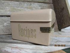 Vintage Tan Brown Lustro Ware Lustroware Elegante Recipe Card Box Plastic Rare Color Label intact Mid Century by EvenTheKitchenSinkOH on Etsy