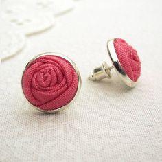 Fabric Rose Stud Earrings in Juicy Melon Pink by LittleLivingstone, £10.00