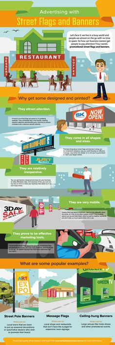 Advertising with Street Flags and Banners   #infographic #Advertising #Marketing