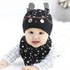 Newborn Baby Girls Boys Cap Sets Spring Owl Pocket Hat + Bibs Set Baby Sleeping Accessories 6 Colors Cute Character Hats&Caps
