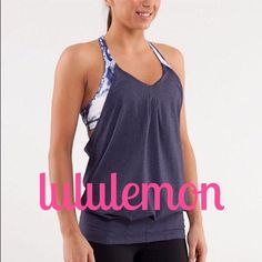 REDUCEDLululemonPractice Freely Tank Sold out in stores! Like new condition, deep indigo & white ink blot tank with built in bra. So cute! lululemon athletica Tops Tank Tops