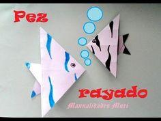 Origami - Papiroflexia. Pez rayado, muy rápido y fácil de hacer - YouTube