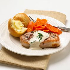 Peppered Pork with Chive Sauce Cream cheese with chives enhanced with sherry and pan drippings makes a quick and easy sauce for boneless pork chops.