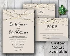 Printable Wedding Invitation PDF Set or Pick & Choose - String Lights Wedding Invites Cream Beige Black Rustic Invite (Choose Your Colors!)