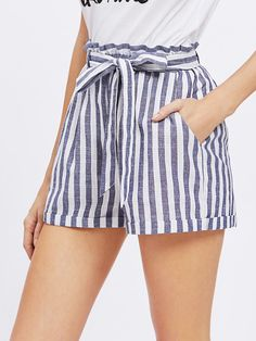 Shop Frill Waist Self Belted Shorts online. SheIn offers Frill Waist Self Belted Shorts & more to fit your fashionable needs. Cute Summer Outfits, Short Outfits, Short Dresses, Cute Outfits, Summer Shorts, Casual Outfits, Dress Summer, Fashion Mode, Fashion Clothes