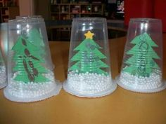 Plastic cup snow globe - - Holiday wreaths christmas,Holiday crafts for kids to make,Holiday cookies christmas, Christmas Arts And Crafts, Preschool Christmas, Christmas Activities, Christmas Projects, Kids Christmas, Holiday Crafts, Christmas Gifts, Christmas Decorations, Christmas Ornaments