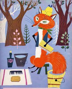fox // Funny Bunny A Big Golden Book, 1950, by Rachel Learnard // Pictures by Alice and Martin Provensen.