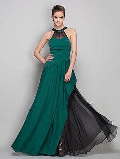 TS Couture Formal Evening / Military Ball Dress - Dark Green Plus Sizes / Petite Sheath/Column Halter Floor-length Jersey / Chiffon - USD $99.99