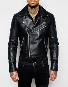 Image 3 of ASOS Cropped Leather Biker in Black