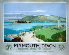 Plymouth, Devon - Delightful Centre for Holidays by National Railway Museum - art print from King & McGaw Posters Uk, Train Posters, Railway Posters, Poster Prints, Art Print, Retro Posters, Travel English, British Travel, Travel Ad