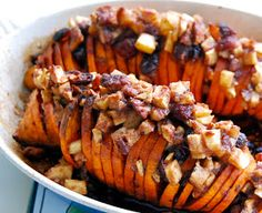 Hasselback Sweet Potatoes stuffed with Apples, Cranberries and Pecans.  #ThanksgivingDinner