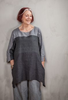 Striped Tunic mixed linen colours - Terry Macey and Angelika Elsebach Spring / Summer Collection 2015