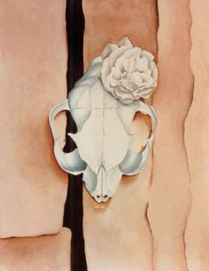 Cow's Skull with Calico Roses -- Georgia O'Keefe Her skull paintings -my first approach to her art- are stunning. Georgia Okeefe Skull, Georgia O'keefe Art, Georgia O Keeffe Paintings, Wisconsin, Skull Painting, Amazing Paintings, New York Art, Cow Skull, Skull And Bones