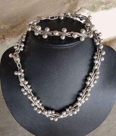 Vintage Heavy Sterling Necklace Bracelet Twisted DNA Modernist Set (item #1372402)