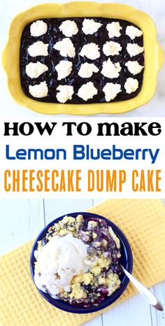 Lemon Blueberry Cheesecake Dump Cake!  This insanely flavorful dessert takes only a few simple ingredients + is the ultimate end to any great dinner!