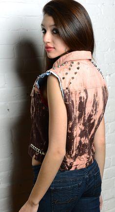 SOFT GRUNGE Studded Acid Wash Denim Vest - Medium M - Pink / 90s / Punk / Studs / Jean / Stud. dlls 39.00, via Etsy.