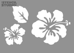 Stencils for home decorating. Hibiscus Flower set stencil ...