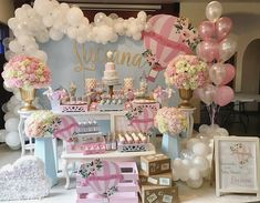 Ideas Baby Shower Decorations For Girls Backdrops Air Balloon Deco Baby Shower, Baby Girl Shower Themes, Baby Shower Balloons, Shower Party, Baby Shower Parties, Hot Air Balloon Party, Air Ballon, Baby Birthday, Birthday Parties