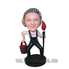 Custom Female Paintet With Brush And Oil Paint Bobblehead Doll