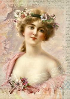 Vintage Illustrations Emile Vernon,Young Girl With Anemones oil painting reproductions for sale Posters Vintage, Retro Poster, Images Vintage, Vintage Artwork, Vintage Pictures, Vintage Prints, Vintage Illustrations, Victorian Pictures, Victorian Paintings