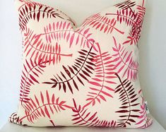 Block print organic cotton canvas pillow with a fern print in shades of red and pink. I can make these in any colour and any size! Cotton Decor, Sustainable Fabrics, Shades Of Red, Ferns, Red And Pink, Cotton Canvas, Decorative Pillows, Organic Cotton, Cottage