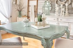 Dining Table with Duck Egg Blue Chalk Paint®️️ by Annie Sloan | Custom Project by Orphans with Makeup