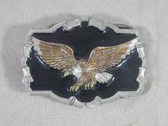 Vintage Eagle Belt Buckle Great American Buckle Co. 1983 Black Enamel Pewter Patriotic Motorcycle by WesternKyRustic on Etsy